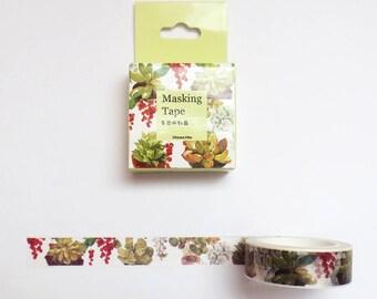 Succulent Washi Tape Roll, Plants Washi Tape, Deco Tape, Masking Tape