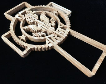 U.S. Army Cross  - Hand-cut Wood Decoration Scroll Saw Art