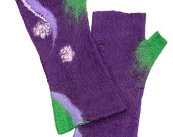 Wool mittens (handmade), mitts of felted wool, accesories, wool, nuno felt, women, autumn, winter,