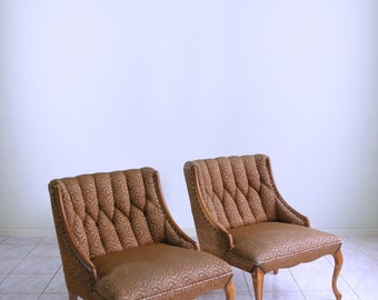 mid century HOLLYWOOD REGENCY french provincial tufted NAILHEAD boudoir slipper chairs