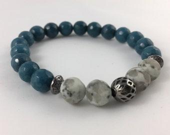 Kiwi stone and Turquoise Jade Bracelet with Gun Metal touches