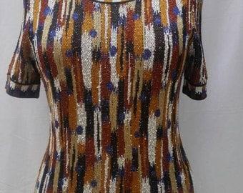 MISSONI vintage multicoloured short sleeved knit top