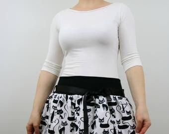 Bubble skirt with cat print, women skirt, straight skirt, white black cotton, summer skirt, mini skirt, midi skirt, elastic waist, XS-L
