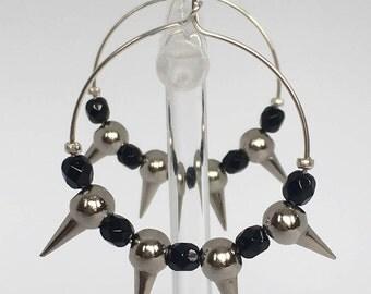 Hoop earrings, Silver plated hoop earrings and black beads, Silver earring, Silver plated jewelry, Black earrings, Rock style, Gift for her