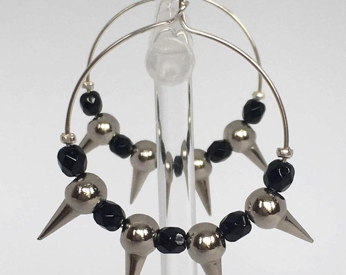 Hoop earrings, Silver plated hoop earrings with metal and black beads