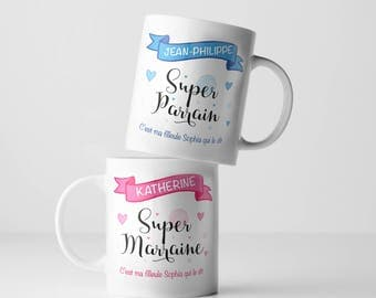 "Pair personalized cups ""Super godmother"" and ""Super Godfather"", original gift, coffee mug, tea, baptism, birthday, friendship, family, couple"