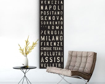 ITALY Bus Scroll, Subway Sign, Vintage Tram Roll, Canvas