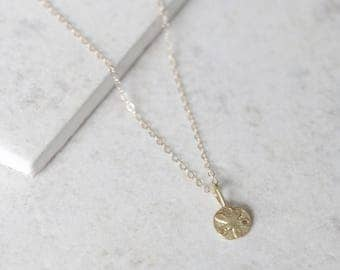 Sand Dollar Seashell Necklace - 14k Gold Filled or Sterling Silver - Everyday Jewelry