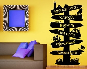 Storybook Signpost Wall Decal Custom Wall Decal Fandom Wall Sticker Harry Potter Lord Of The Rings Narnia Peter Pan Typography Living Room