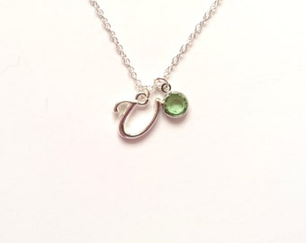 """Letter """"U"""", Christmas Gift, Birthstone Necklace, Sister Gift, Teen Gift, Birthday Gift, Gifts for Her, Initial Charm, Anniversary Gift"""