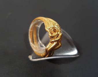 Gold plated sterling silver Lesbian ring. Promise ring. Couple ring. Wedding ring. Shipping free !!!