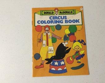 Vintage Coloring Book, McDonald's Restaurant, Ronald McDonald Circus Coloring Book 1987, Inv1244,