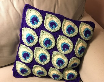 "Crocheted Peacock Feather Throw Pillow Cover, 16""X16"" (fits IKEA)"