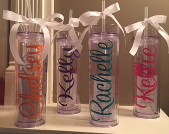 Personalized 16 oz skinny tumbler clear with straw and lid