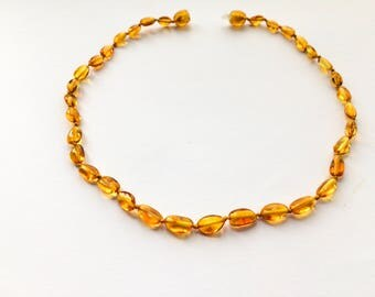 Baltic amber teething necklace Baby genuine honey color Baltic Baroque beads child 13 inches Pure handmade teething jewelry Unisex necklaces