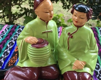 1940's or 50's Clayware Sitting Asian Figurines