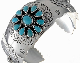 Native American Turquoise Bracelet Sleeping Beauty Cluster