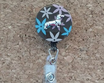 Dachshund Flower Retractable Card/Badge Holder
