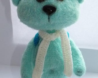 blue crochet cat/ kitten with white scarf/ cat with backpack/toy funny animal