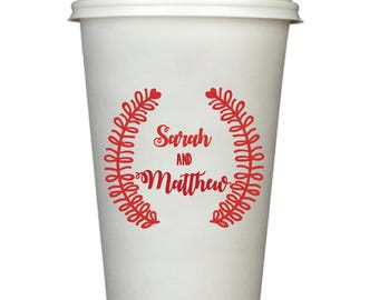 Personalized Disposable Coffee Cups, 20 oz, Monogrammed, Custom, Modern, Wreath Monogram