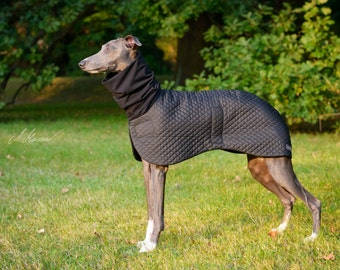 Quilted whippet coat - black