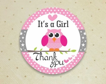 Printable Baby Shower Favor Thank You Tags for Girls. Owl Thank You Tags. Baby Shower. Thank You Tags. It's a Girl.