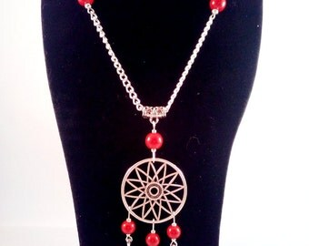 "Vegetable coral silver necklace ""Mohawk"""