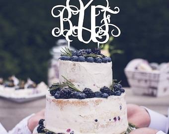 Wedding Cake Topper White Rustic Initial Cake Topper Monogram Cake Topper Personalized Topper Monogram Name Cake Topper Wedding Cake Decor