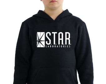 Star Labs Hoodie, STAR Laboratories Flash The TV Series S.T.A.R. Labs Youth Hoodie, Star Labs Unisex Youth Hooded Sweatshirt Pullover