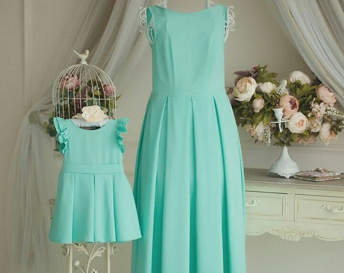 Mint Mother Daughter matching dress Mommy and Me sleveless long dress Ball Gowns Bridesmaid dress Mom and daughter matching dress