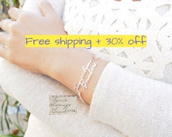 FREE SHIPPING - 30% OFF **  Memorial Signature Bracelet - Personalized Handwriting Bracelet - Actual Handwriting Bracelet - Wedding Birthday