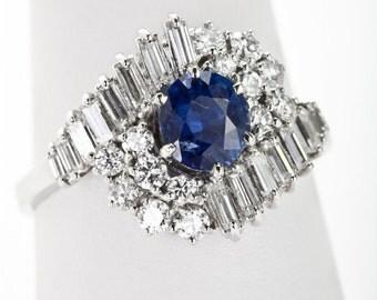 Vintage Sapphire Ring w/ 30 Diamonds