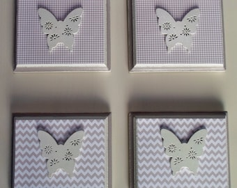 4 wall frames, color taupe and crayon, with butterfly