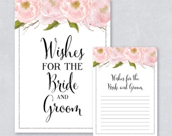 Wishes for the bride and groom / Blush watercolor floral / Silver Glitter / Bridal shower game / DIY Printable / INSTANT DOWNLOAD