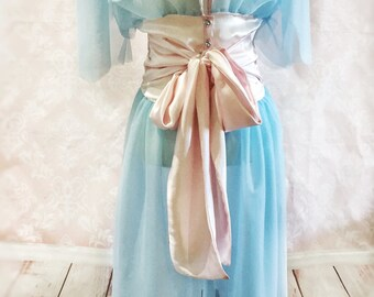 The Betty-1950's, vintage style, dressing gown, robe, retro, rockabilly, blue, pink, pinup, burlesque, gift for her, bride, wedding, costume