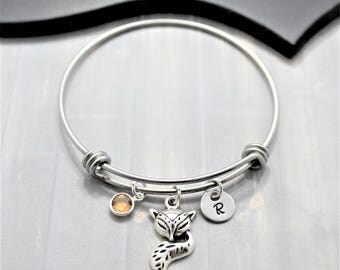 Personalized Fox Bangle Bracelet - Fox Charm Bracelet - Fox Jewelry - Silver Fox - Fox Gift - Custom Fox Bracelet