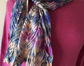 Hand-Dyed Blue Shibori Silk Scarf; Shibori Silk Scarf; Unique Gift Scarf; Blue Boho Scarf; Unique Gift Scarf; Shades of Blue Scarf