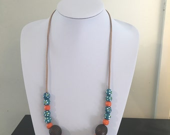 Blue with orange and brown wooden bead necklace