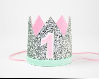 1st Birthday Crown | First Birthday Crown | First Birthday Glitter Party Hat | Smash Cake Hat | Silver + Mint + Pink 1