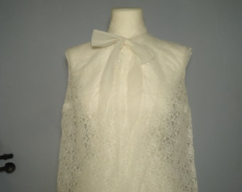 60s shirt true vintage of lace top S M white loop sweet elegant Mandarin collar A-line retro babydoll