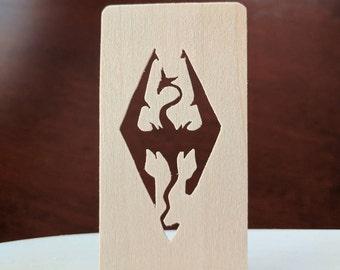 Skyrim Dragon Hand Cut Wooden Bookmark