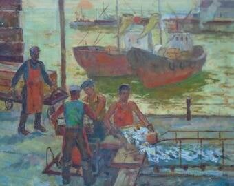 VINTAGE GENRE PAINTING Original Oil Painting by Soviet Ukrainian artist Lavrinenko Ya. 1993, Port, Indastrial landscape, Waterscape