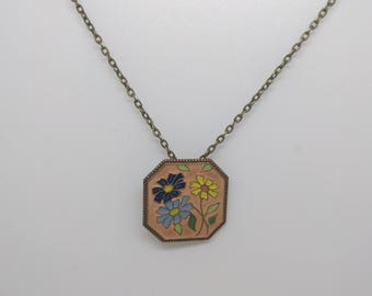 Vintage Enamel Flower Necklace, 1970s Enamel Flower Pendant, Enamel Daisy Floral Necklace, Folk Pendant, Boho Necklace, Originally a Buckle