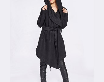 Oversized Hoodie, Black Hooded Coat, Minimalist Coat, Winter Coat, Wool Coat, Trendy Plus Size Clothing, Gothic Coat, Hooded Wool Jacket
