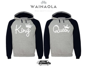 King Queen Couple Hoodies Valentine's Day Couple Sweaters Matching Pärchen Shirts King Queen Gifts for Him King Hoodie Queen Hoodie