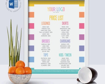 """EDITABLE Price List 
