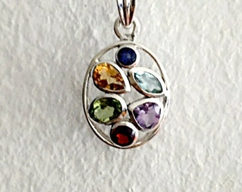 multi gemstone pendant,sterling silver pendant,multistone necklace,bridesmaid gift,garnet, amethyst, Citrine, peridot, blue topaz, Iolite.
