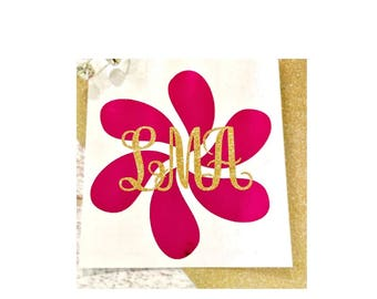 Monogram Daisy decal, Monogram decal, Monogram flower decal, Daisy sticker, Flower vinyl decal, Flower decal, Personalized vinyl decal