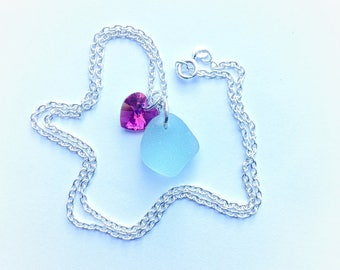 Sea Foam Sea Glass Necklace, Sea Glass Necklace, Sea Glass Pendant