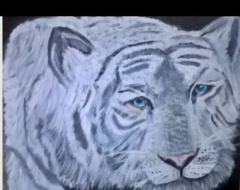 Original Painting. White Bengal Tiger, 16x20